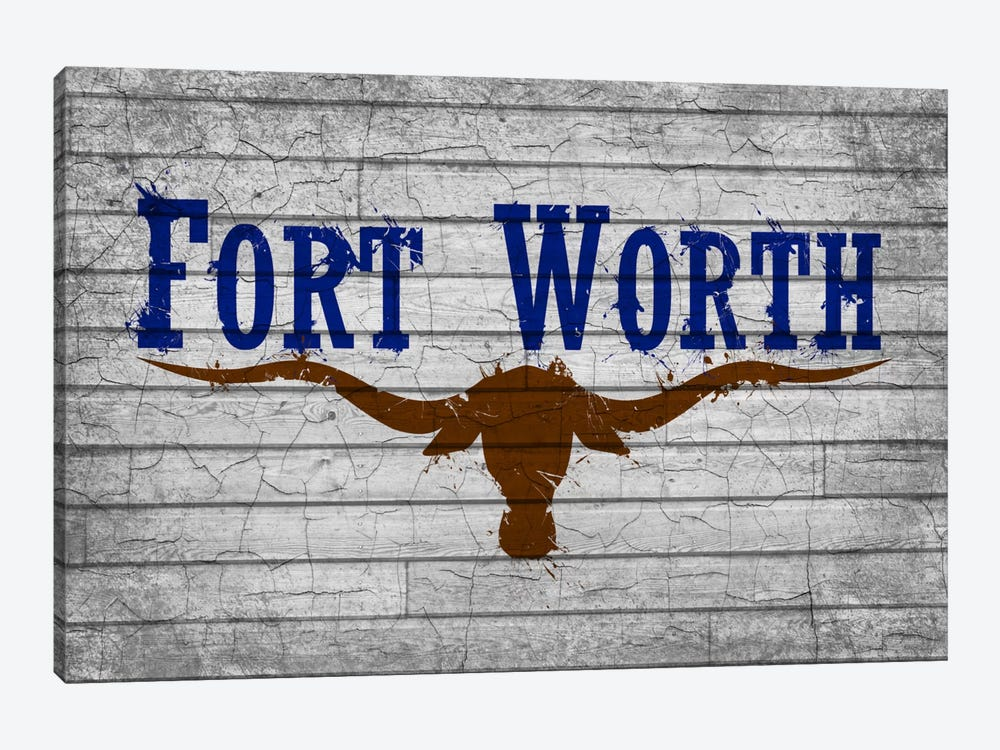 Fort Worth, Texas Cracked Fresh Paint City Flag on Wood Planks by iCanvas 1-piece Art Print