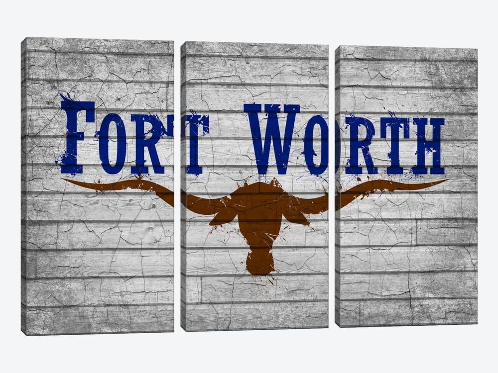 Fort Worth, Texas Cracked Fresh Paint City Flag on Wood Planks by iCanvas 3-piece Art Print