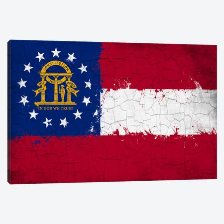 Georgia Cracked Fresh Paint State Flag Canvas Print #FLG610} by iCanvas Canvas Art Print