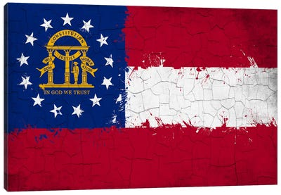 Georgia Cracked Fresh Paint State Flag Canvas Art Print