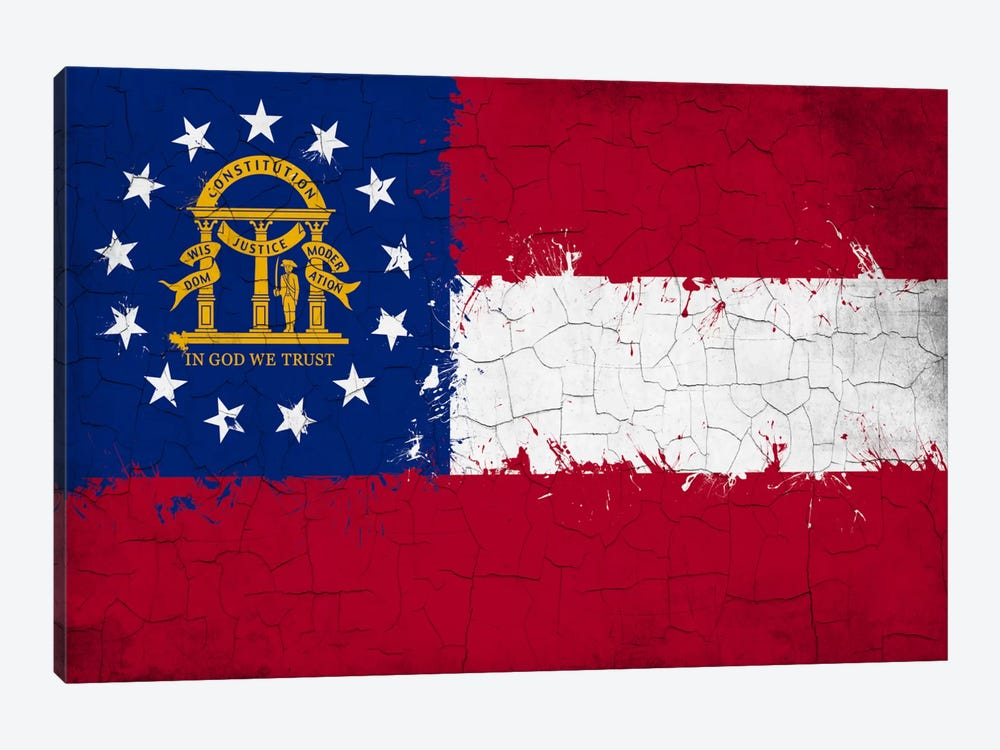 Georgia Cracked Fresh Paint State Flag by iCanvas 1-piece Art Print