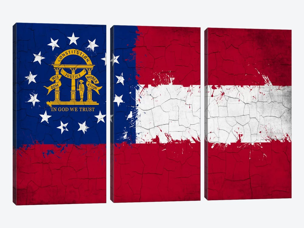 Georgia Cracked Fresh Paint State Flag by iCanvas 3-piece Canvas Art Print