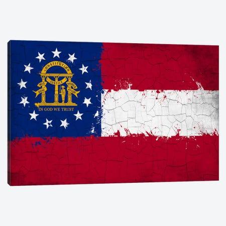 Georgia Cracked Fresh Paint State Flag Canvas Print #FLG610} by iCanvas Canvas Art Print