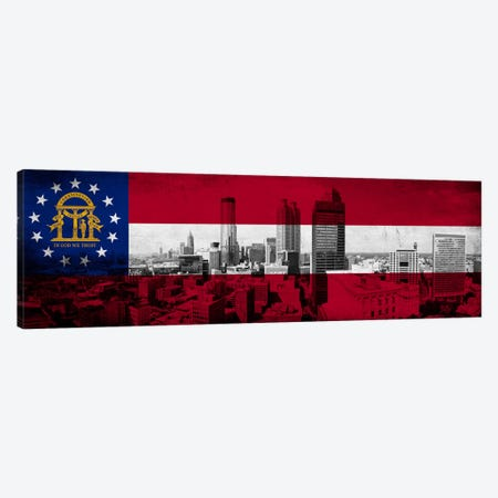 Georgia FlagPanoramic Atlanta Skyline Grunge Canvas Print #FLG613} by iCanvas Canvas Art Print