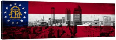 Georgia FlagPanoramic Atlanta Skyline Grunge Canvas Art Print