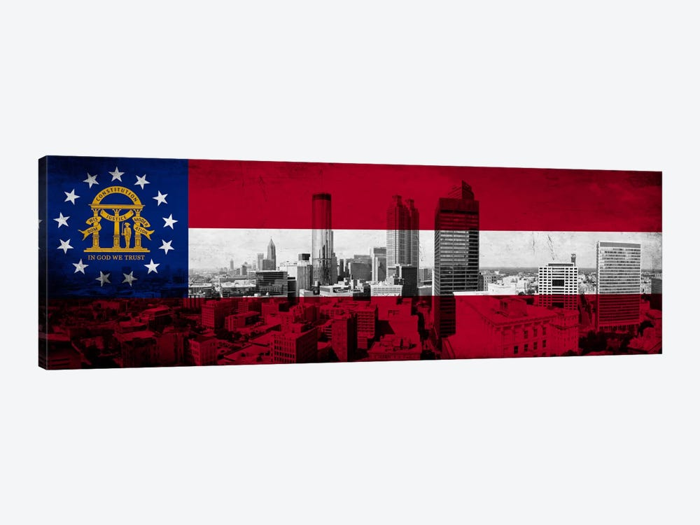 Georgia FlagPanoramic Atlanta Skyline Grunge by iCanvas 1-piece Canvas Wall Art