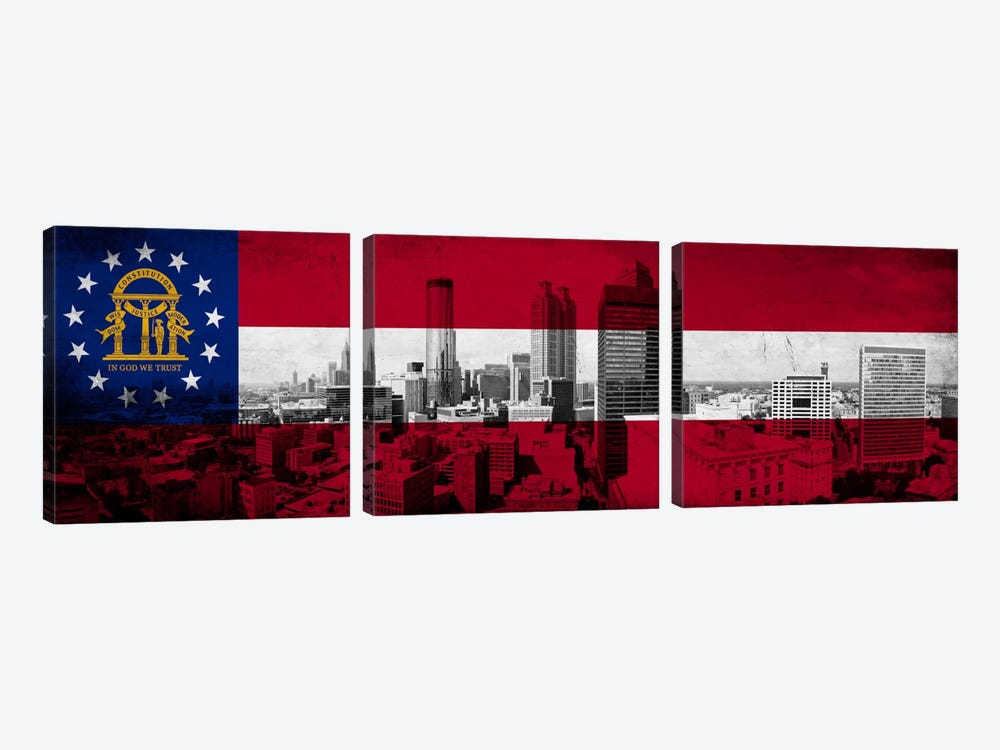 Georgia FlagPanoramic Atlanta Skyline Grunge by iCanvas 3-piece Canvas Artwork