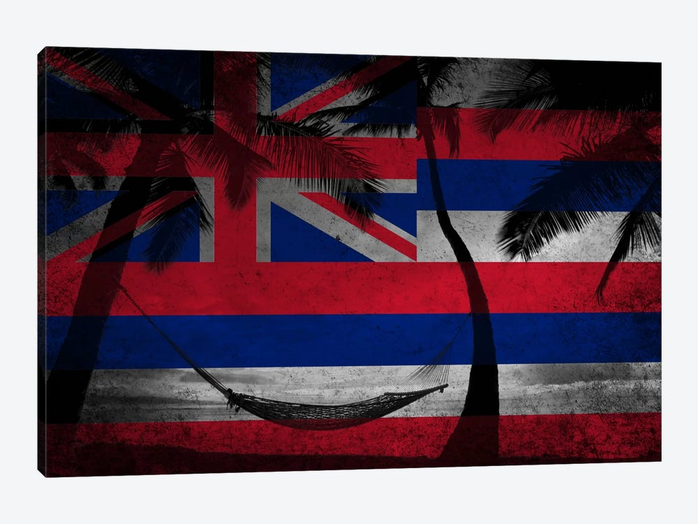State Flag Overlay Series: Hawai'i (Beach Landscape) by iCanvas 1-piece Canvas Print
