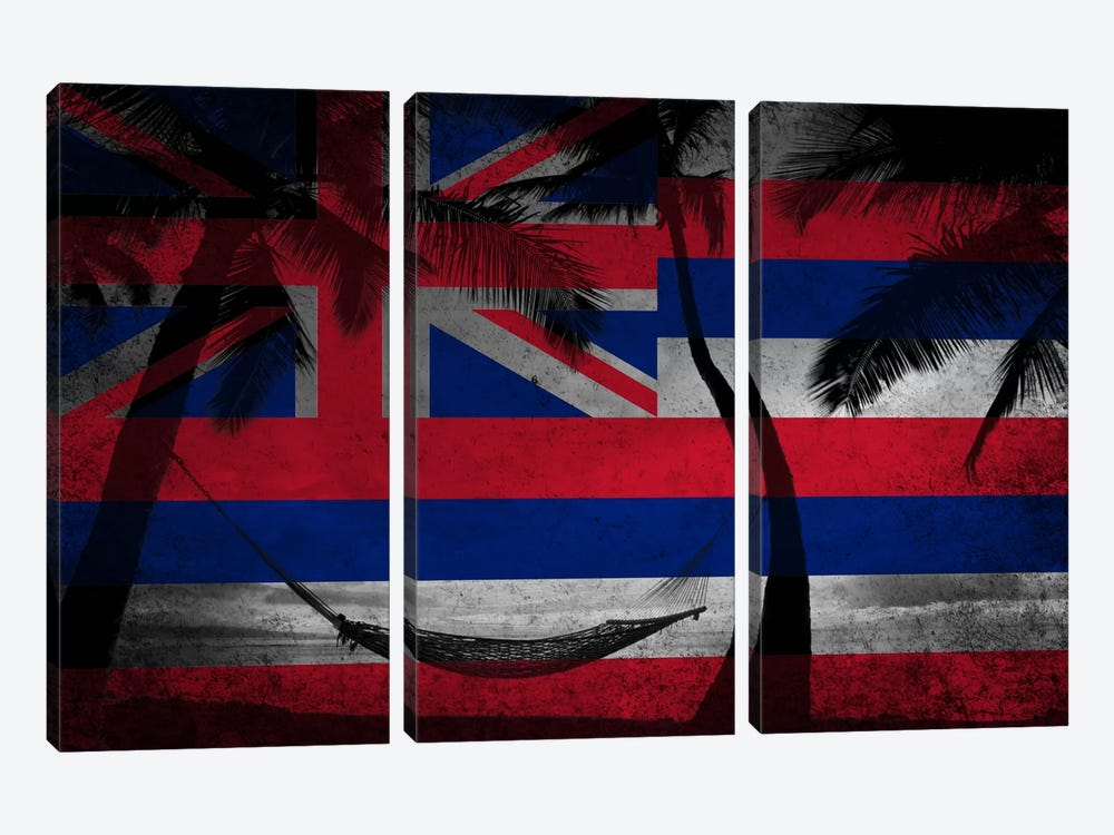 State Flag Overlay Series: Hawai'i (Beach Landscape) by iCanvas 3-piece Art Print