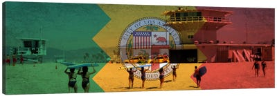 Los AngelesCalifornia Flag - Beach Grunge Panoramic Canvas Print #FLG623