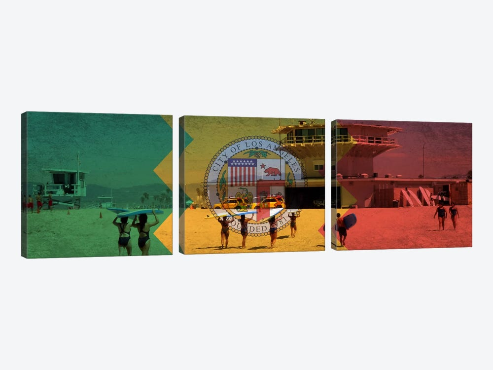Los AngelesCalifornia Flag - Beach Grunge Panoramic by iCanvas 3-piece Canvas Print