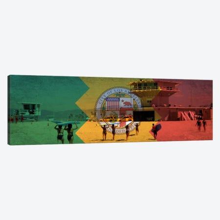 Los Angeles, California Flag - Beach Grunge Panoramic Canvas Print #FLG623} by iCanvas Canvas Art