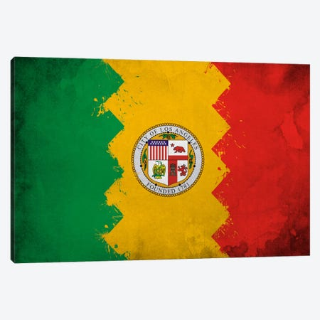 Los Angeles, California Fresh Paint City Flag Canvas Print #FLG629} by iCanvas Canvas Artwork