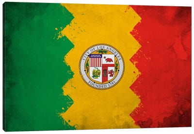 Los Angeles, California Fresh Paint City Flag Canvas Print #FLG629