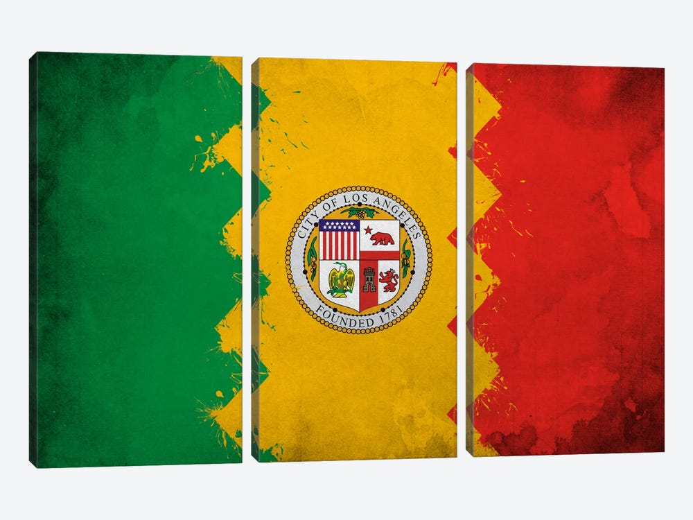 Los Angeles, California Fresh Paint City Flag by iCanvas 3-piece Canvas Print