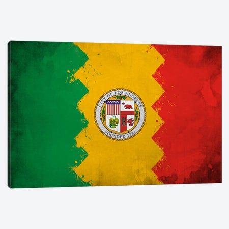 Los Angeles, California Fresh Paint City Flag Canvas Print #FLG629} by iCanvas Canvas Artwork