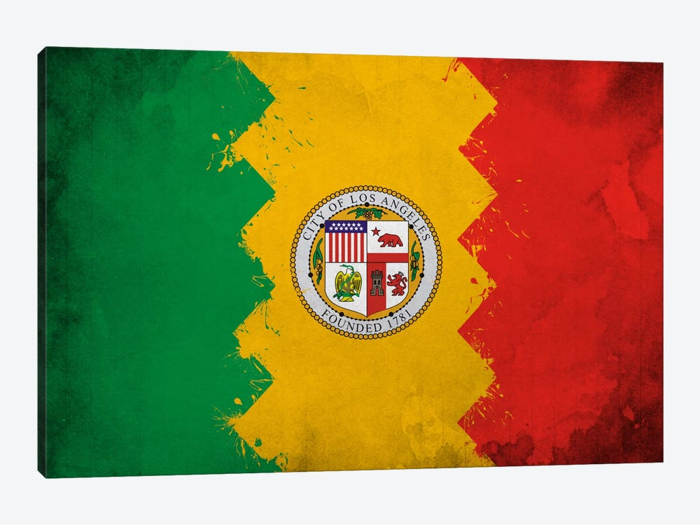 Los Angeles, California Fresh Paint City Flag by iCanvas 1-piece Canvas Art Print