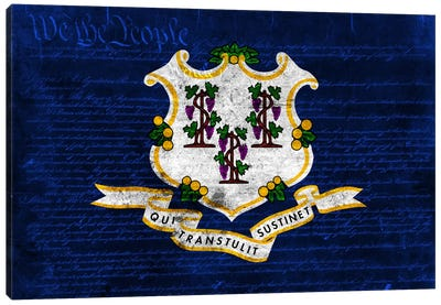 State Flag Overlay Series: Connecticut (U.S. Constitution) Canvas Print #FLG63