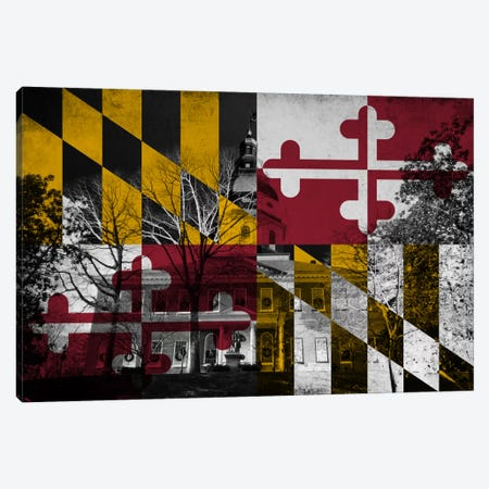 State Flag Overlay Series: Maryland (The Maryland State House) Canvas Print #FLG642} by iCanvas Canvas Art