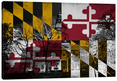 State Flag Overlay Series: Maryland (The Maryland State House) Canvas Print #FLG642