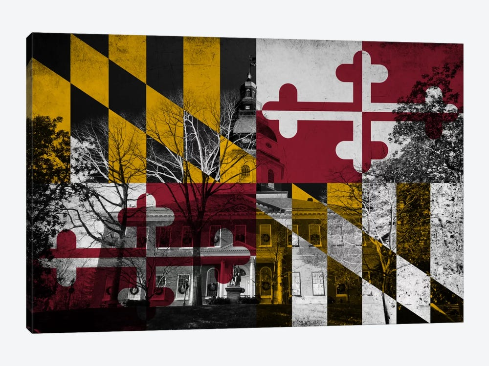 State Flag Overlay Series: Maryland (The Maryland State House) by iCanvas 1-piece Canvas Art