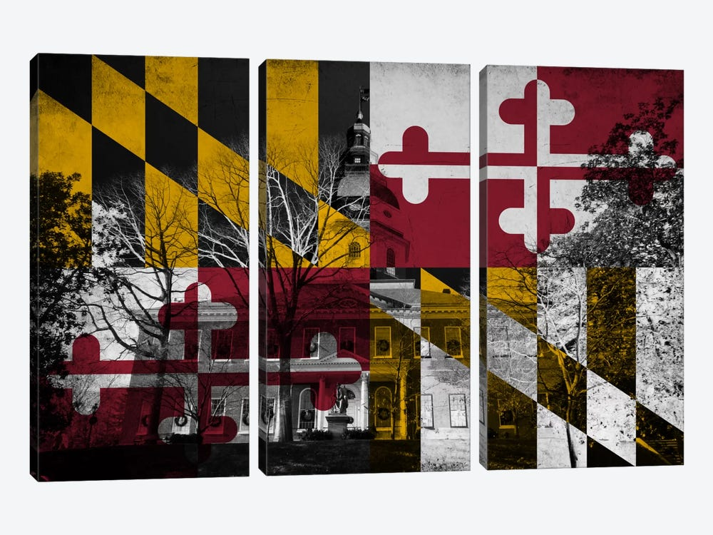 State Flag Overlay Series: Maryland (The Maryland State House) by iCanvas 3-piece Canvas Wall Art