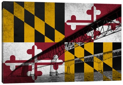 State Flag Overlay Series: Maryland (Chesapeake Bay Bridge) Canvas Art Print