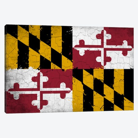 Maryland Cracked Fresh Paint State Flag Canvas Print #FLG644} by iCanvas Art Print