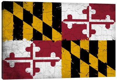 Maryland Cracked Fresh Paint State Flag Canvas Art Print