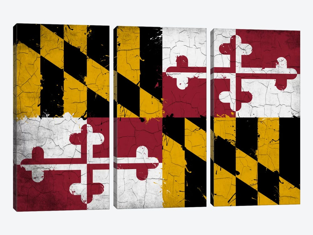 Maryland Cracked Fresh Paint State Flag 3-piece Canvas Wall Art