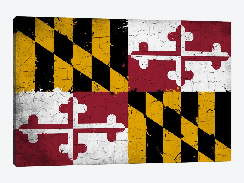 Maryland Cracked Fresh Paint State Flag by iCanvas 1-piece Canvas Wall Art
