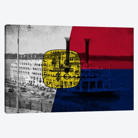 Memphis, Tennessee Flag - Grunge River Boat Memphis Flyer Canvas Print #FLG654} by iCanvas Canvas Artwork
