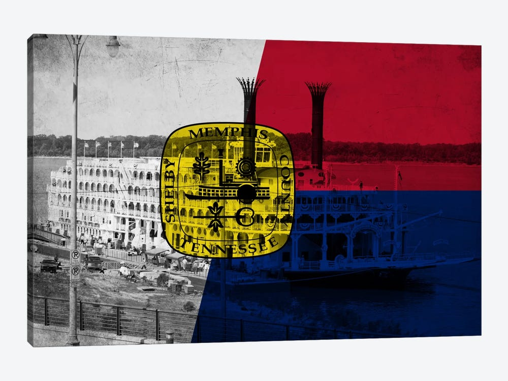 MemphisTennessee Flag - Grunge River Boat Memphis Flyer by iCanvas 1-piece Canvas Print