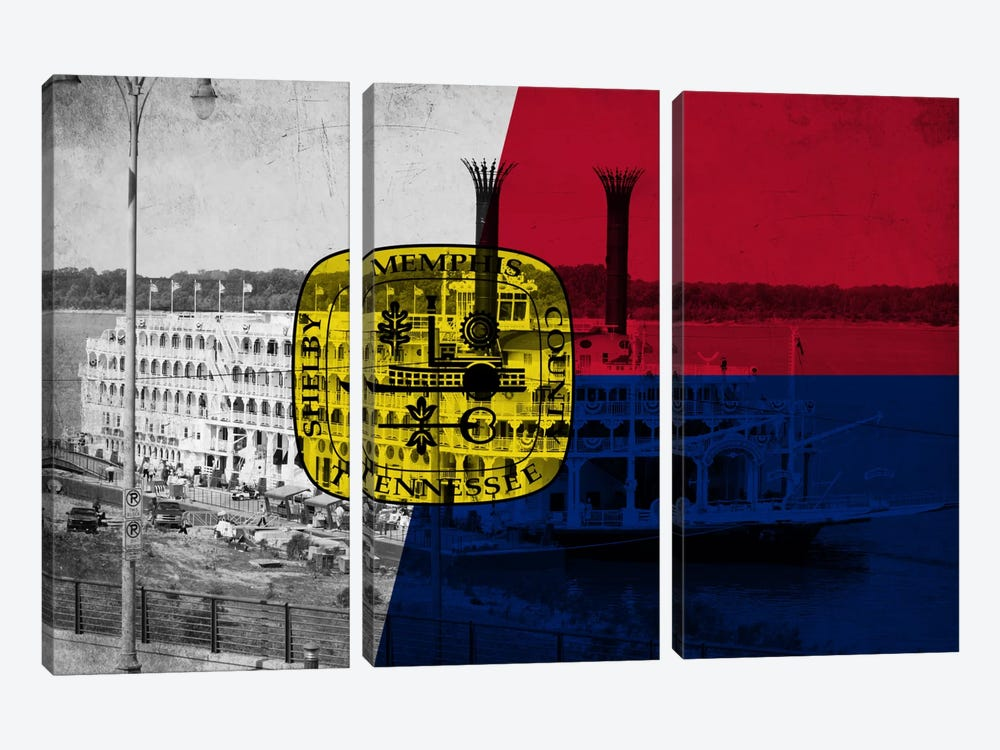 MemphisTennessee Flag - Grunge River Boat Memphis Flyer by iCanvas 3-piece Art Print