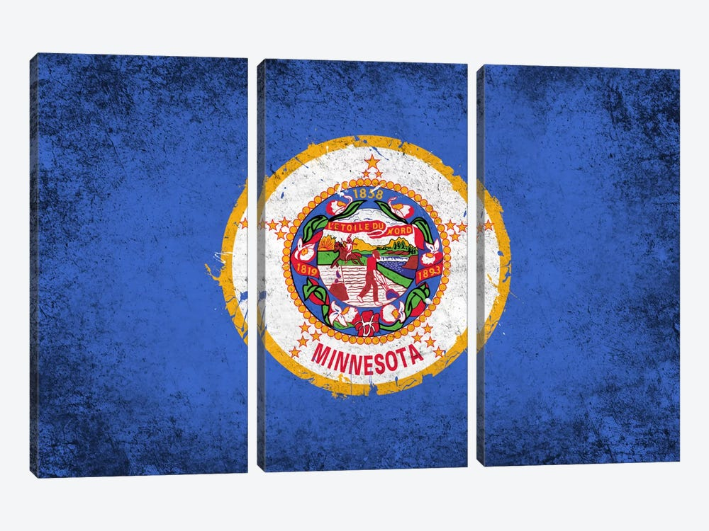 Minnesota FlagGrunge Painted by iCanvas 3-piece Canvas Artwork