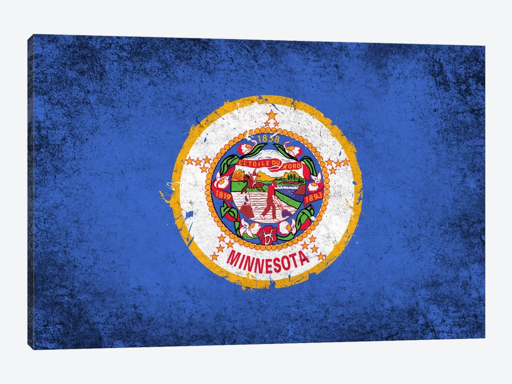 Minnesota FlagGrunge Painted by iCanvas 1-piece Canvas Wall Art