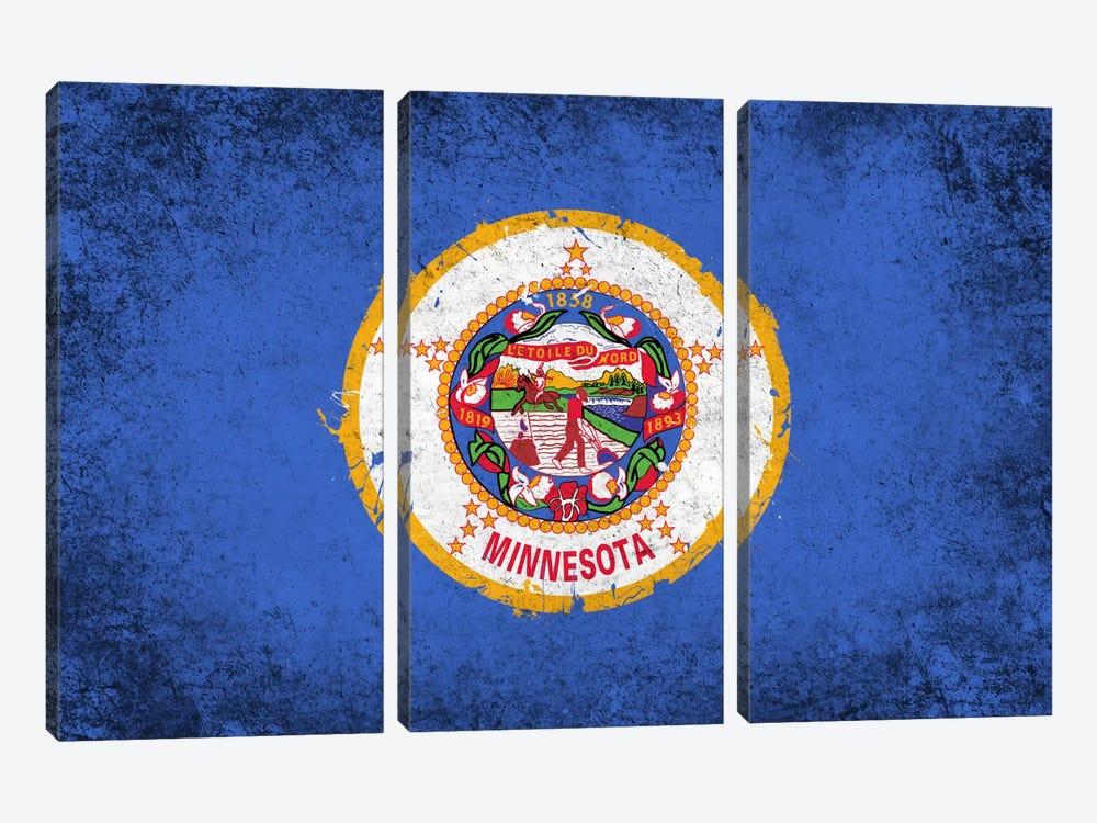 Minnesota FlagGrunge Painted by iCanvas 3-piece Canvas Artwork