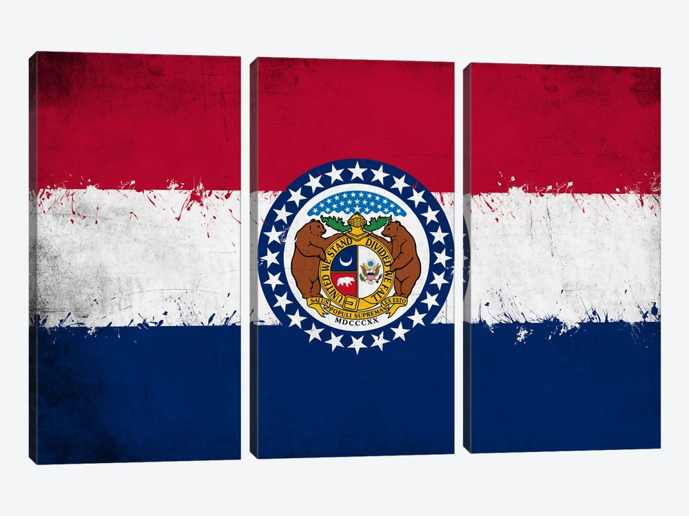 Missouri Fresh Paint State Flag by iCanvas 3-piece Canvas Wall Art
