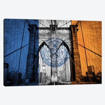 New York City, New York (Brooklyn Bridge) Canvas Print #FLG681} by iCanvas Canvas Wall Art