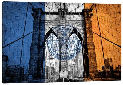 City Flag Overlay Series: New York City, New York (Brooklyn Bridge) Canvas Print #FLG681