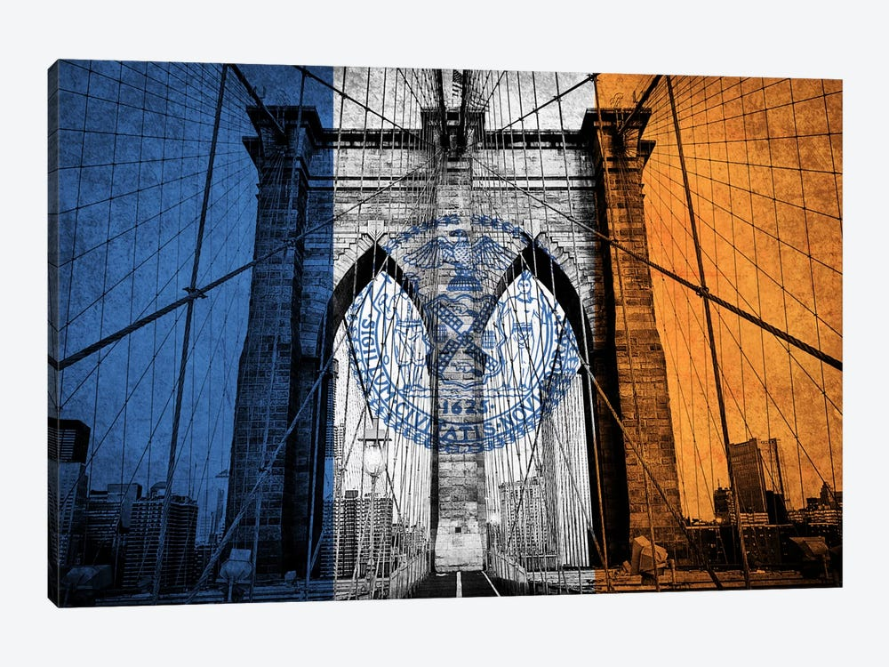City Flag Overlay Series: New York City, New York (Brooklyn Bridge) by iCanvas 1-piece Canvas Print