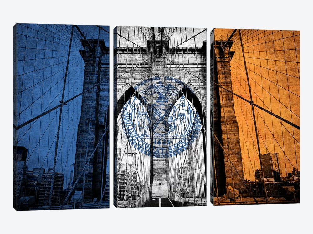 City Flag Overlay Series: New York City, New York (Brooklyn Bridge) by iCanvas 3-piece Canvas Print