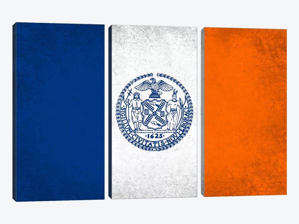 City Flag Grunge Series: New York City, New York by iCanvas 3-piece Canvas Wall Art