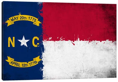 North Carolina Fresh Paint State Flag Canvas Print #FLG693