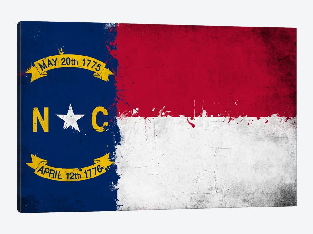 North Carolina Fresh Paint State Flag by iCanvas 1-piece Canvas Art