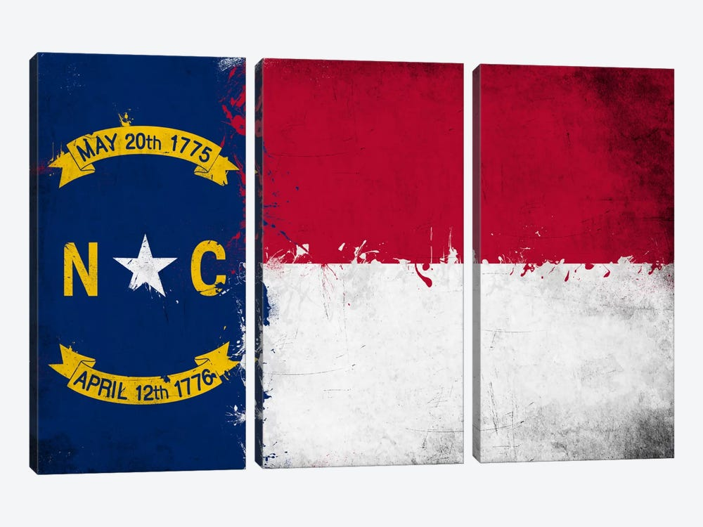 North Carolina Fresh Paint State Flag by iCanvas 3-piece Canvas Art
