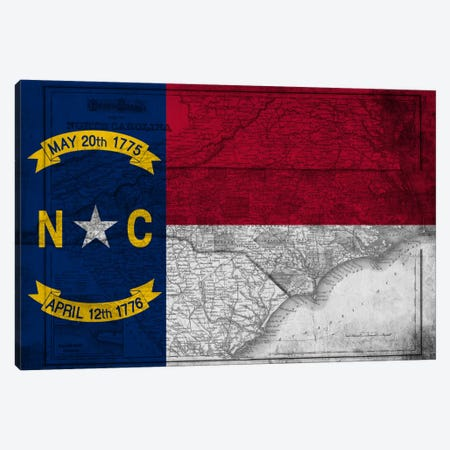State Flag Overlay Series: North Carolina (Vintage Map) Canvas Print #FLG694} by iCanvas Canvas Art