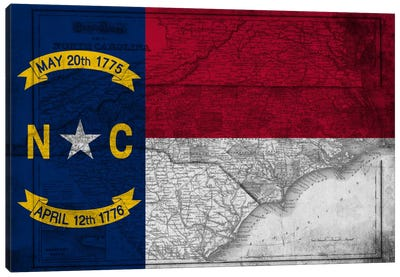 State Flag Overlay Series: North Carolina (Vintage Map) Canvas Art Print