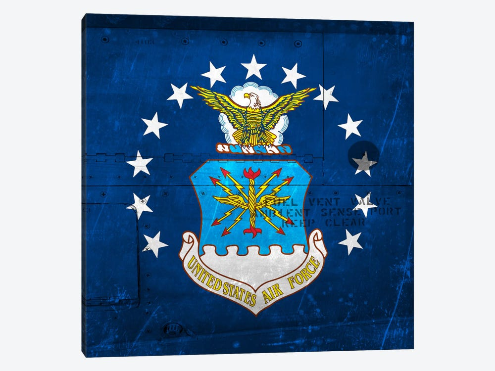 U.S. Air Force Flag (Riveted Fighter Jet Panel Background) II by iCanvas 1-piece Canvas Wall Art