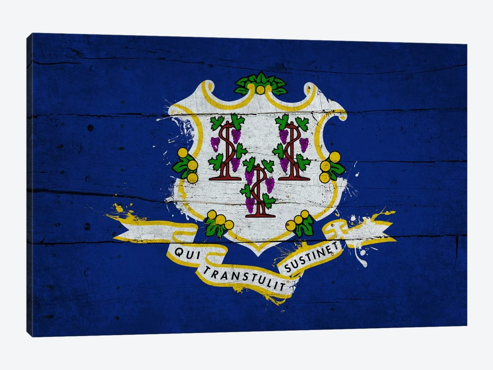 Connecticut Fresh Paint State Flag on Wood Planks by iCanvas 1-piece Art Print